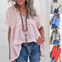 Short Sleeve Women Shirts Casual V-Neck Blouse Plain Loose Casual Tops Plus Size