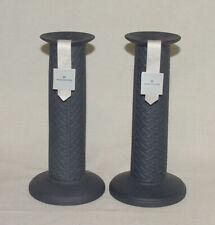 Perfect Pair Wedgewood Dark Blue Tall Columned Candlesticks!