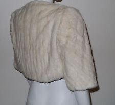 Genuine Invierno Blanco Crema Armiño Stoat Visón Piel verdadera Boda Bolero Jacket