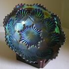 Imperial SHELL & SAND Electric Blue Green over Amethyst Carnival Glass Bowl 7.5