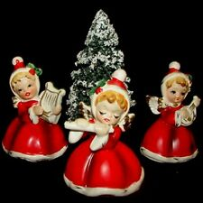 3 NAPCO ViNTaGe ANGeL GIRL Figurines w Bottle Brush Tree - Flute Banjo Harp