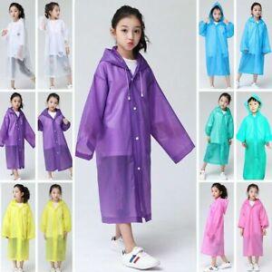 Children Waterproof Hooded Rain Coat Kids Jacket Poncho Raincoat Long Outwear UK