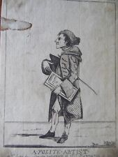 Rare Mary Darly 1773  Caricature Portrait 'A Polite Artist', John Hill Botanist.