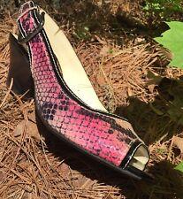 FRANCO SARTO Peep Open Toe Pink Snake Patent Sling back Buckle Heels Sz 7M NEW