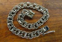 Vintage silver 1950's 1960's DOUBLE LINK PATINA CHARM bracelet FOR CHARMS