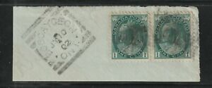 Canada BOBCAYGEON ON Squared Circle Queen Victoria 1c x2 Numeral on piece 1902