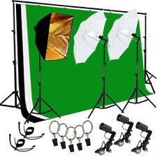 Photo Studio Photography kit W/3 Light Bulb Lighting Muslin 3 Backdrop Stand Set