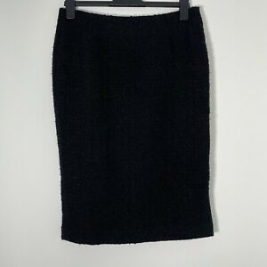 """HOBBS London Black Thick Boucle Wool Blend Fitted Pencil Skirt UK 12 L26"""" W30"""""""