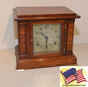 RESTORED SETH THOMAS MID-SIZE ANTIQUE SONORA BELLS CHIME CLOCK NO. 00-1911
