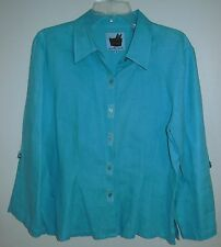 """in the wash"" Linen Sz 12 M Shirt Top Blouse CoverUp AQUA BLUE Art Wear DESIGNER"