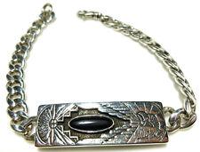 Mens Sterling Silver Eagle Onyx Southwestern Biker Curb Cuban Chain Bracelet 9