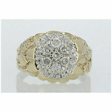 1.00ctw Blue Diamond Cluster Ring 10k Yellow Gold