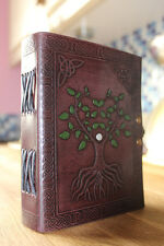 Tree of life handpainted leather journal , book of shadows, Wiccan Pagan
