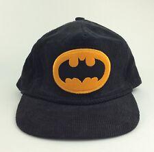 Vintage DC Comics BATMAN HAT Black Corduroy Embroidered bat logo 1964 Adjustable