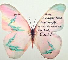 "Wizard of Oz Over The Rainbow Bluebirds Lyrics 5"" Butterfly Wall Art 3D Decal"
