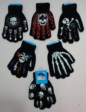 1 Pair Knit Gloves Childrens Kids Boys Skull Skeleton Flames Bones Winter Gloves