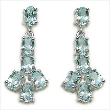 Pure Luxury 7,80 Carat Blue Topaz Earrings, Studs, 925 Silver, Rhodium-Plated