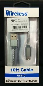 Just Wireless-10Ft USB-C Cable Braided~Space Grey ~NEW!