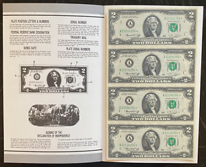 $2 US Currency Collector Edition 1976 - Four Uncut Notes