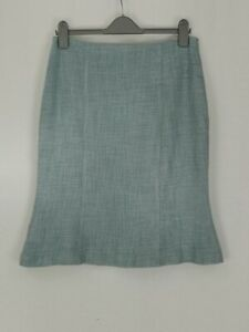Hobbs Trumpet Fishtail Hem Knee Length Skirt Size 12 Powder Blue Tweed Lined