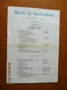 1972 AND 1974 THE HURLINGHAM CLUB 2 CONCERT PROGRAMMES PLUS ONE TICKET