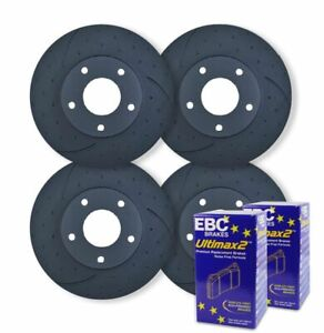 FULL SET DIMPLED SLOTTED DISC BRAKE ROTORS+PADS for Land Rover Discovery 2 TD5