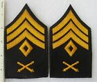 Pair ROTC SCHOOL ARTILLERY FIRST SERGEANT RANK STRIPES PATCHES Vintage Cut Edge