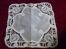 N30 ANCIEN MOUCHOIR linon & Dentelle de Luxeuil Old linen veil lace handkerchief