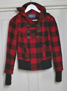 Evie Red & Black Short Plaid Winter Jacket Size 10