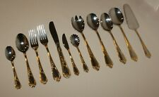Amefa AFS40 Flatware 18-10 Stainless w/ Gold Accents Scrolls Shell - You Choose