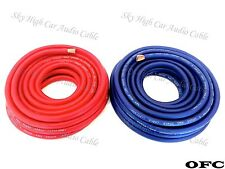 25 ft OFC 4 Gauge AWG 12.5' RED / 12.5' BLUE Power Ground Wire Sky High Car