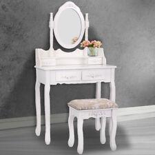 Bedroom Vanity Makeup Table Set Dressing Jewelry Desk 4 Drawer w/Oval Mirror