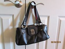 THE SAK Black Leather Purse Silvertone Hardware Soft Sided Red Accents Open Top