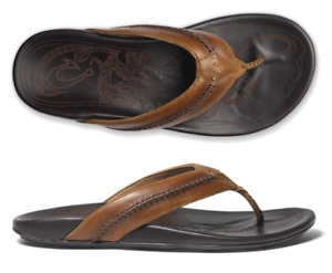 Olukai Mea Ola Tan/Dark Java Comfort Flip Flop Men's US sizes 7-15 NIB!!!