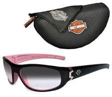 Harley-Davidson® Wiley-X Curve Safety Black & Pink Sunglasses Smoke Lens HDCUR05