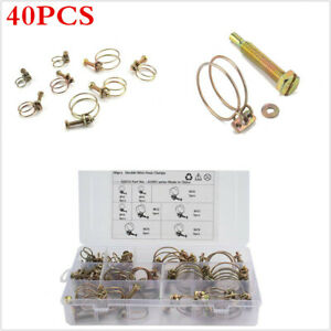 40Pcs Adjustable Dual Wire Hose Clamp Universal Fit For Car Machine Tools Trains