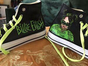 BIllie Eilish Pop Art Custom Hand Painted Hi Tops Shoes