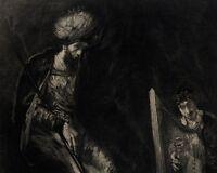 Rembrandt Van Rijn Portrait de Saül et David - Eau Forte Decisy XIXe L'art