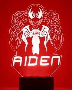 Venom Night Light Personalized FREE, Superhero LED Night Light Lamp, Desk Lamp