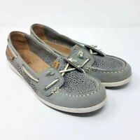 Sperry Top-Sider Womens Coil Ivy Geo Perf Boat Shoes Gray Leather Slip On Sz 7 M
