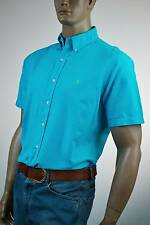 Ralph Lauren Classic Fit Turquoise Blue Short Sleeve Shirt/ Green Pony-NWT