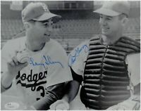 Norm Sherry & Larry Sherry Dual Hand Signed Auto 8x10 Photo Sitting Dodgers JSA
