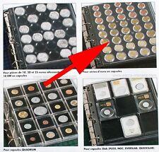Feuilles plastique transparentes de rangement pour pièces en euro sous capsule