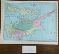 "Vintage 1901 CYPRUS & CRETE Map 14""x11"" ~ Old Antique Original LARNAKA PAPHO"