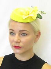 Yellow Orchid Flower Pillbox Hat Fascinator Rockabilly Vtg Hair Races 1950s 466