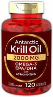 Antarctic Krill Oil 2000 mg 120 Softgels | Omega-3 EPA, DHA, with Astaxanthin...