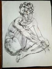 NUDE ORIGINAL FINE ART LARGE CHARCOAL DRAWING by PAUL WAGENER (AMERICAN b. 1918)