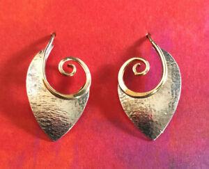 "VTG Sterling Silver Earrings MCM Modernist Gold Wires Textured 1"" 2g 925 #2015"