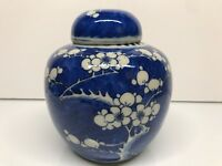 19th Century Qing Dynast Chinese Blue N White Porcelain Prunus Vase Ginger Jar