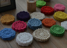 "Lot 60 Hand Crochet 4"" Round Small Doilies Floral Cotton Appliques Set"